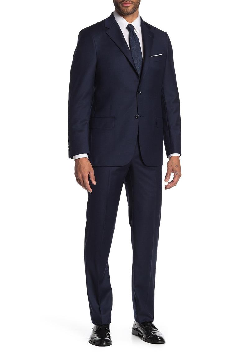 Hickey Freeman Milburn IIM Series Navy Windowpane Two Button Notch Lapel Wool Classic Fit Suit