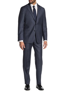Hickey Freeman Milburn IIM Series T Blue Plaid Two Button Notch Lapel Wool Regular Fit Suit