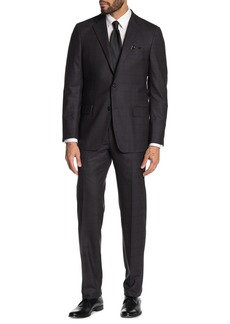 Hickey Freeman Milburn IIM Series T Dark Grey Checkered Two Button Notch Lapel Wool & Silk Blend Regular Fit Suit