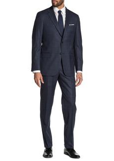 Hickey Freeman Milburn IIM Series T Navy Glenplaid with Overcheck Two Button Notch Lapel Wool Regular Fit Suit
