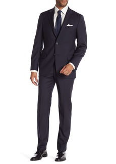 Hickey Freeman Navy Blue Check Two Button Notch Lapel Wool Classic Fit Suit