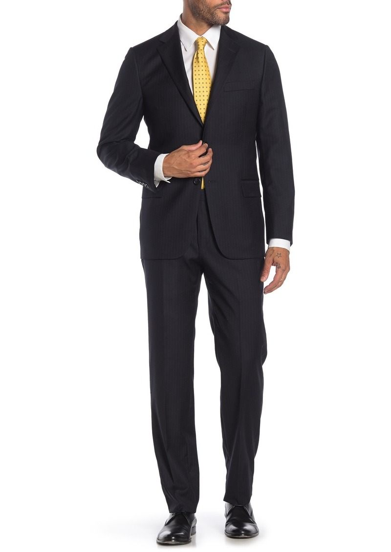 Hickey Freeman Navy Pinstripe Two Button Notch Lapel Wool Classic Fit Suit
