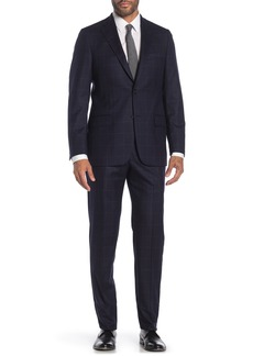 Hickey Freeman Navy Windowpane Two Button Notch Lapel Wool Classic Fit Suit
