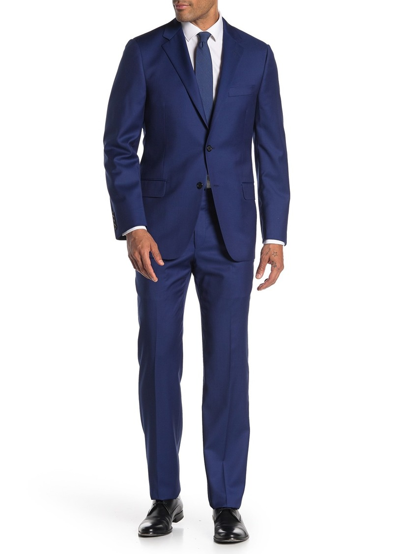 Hickey Freeman Solid Front Button Wool Classic Fit Suit