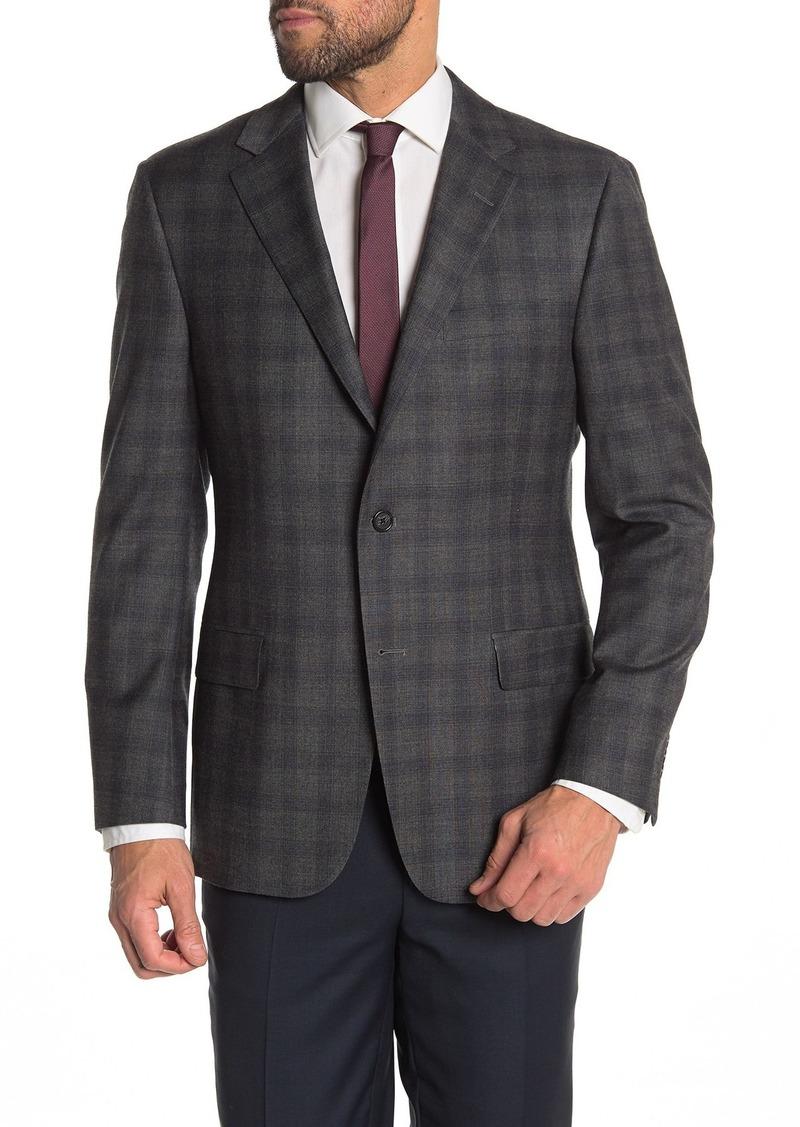 Hickey Freeman Windowpane Classic Fit Wool Blend Suit Jacket