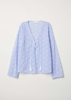 H&M H & M - Blouse with Eyelet Embroidery - White - Women