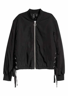 H&M H & M - Bomber Jacket with Lacing - Black - Women