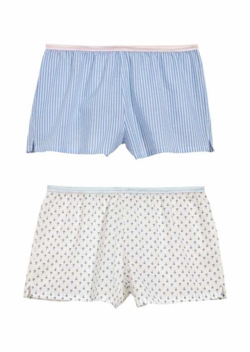 33b6e223fa0 H & M - 2-pack Cotton Pajama Shorts - White/patterned - Women