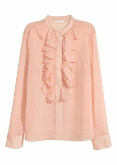 H&M H & M - Crinkled Flounced Blouse - Peach/dotted - Women
