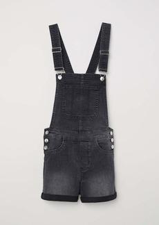 H&M H & M - Denim Bib Overall Shorts - Dark gray denim - Women