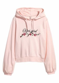 H&M H & M - Embroidered Hooded Sweatshirt - Light pink/flowers - Women