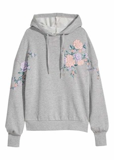 H&M Embroidered Hooded Sweatshirt