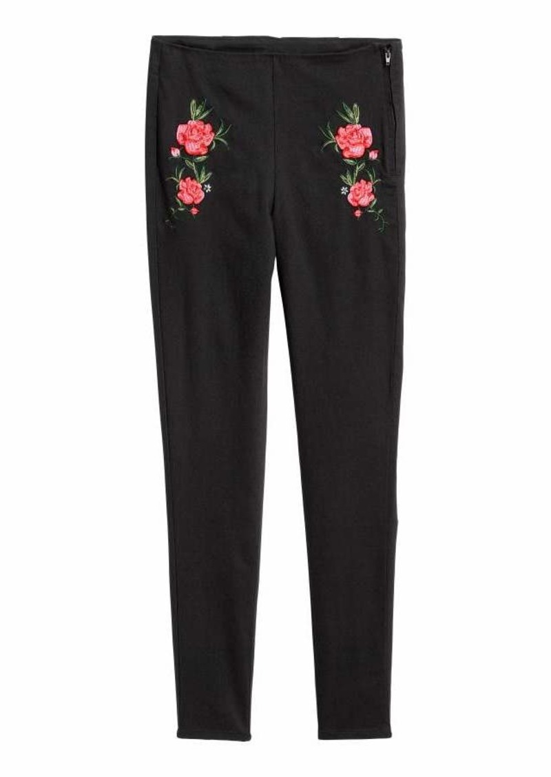 H&M H & M - Embroidered Slim-fit Pants - Black/flowers - Women