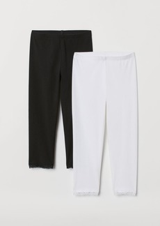 H&M H & M - 2-pack 3/4-length Leggings - White