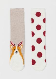 H&M H & M - 2-pack Chenille Socks - Beige