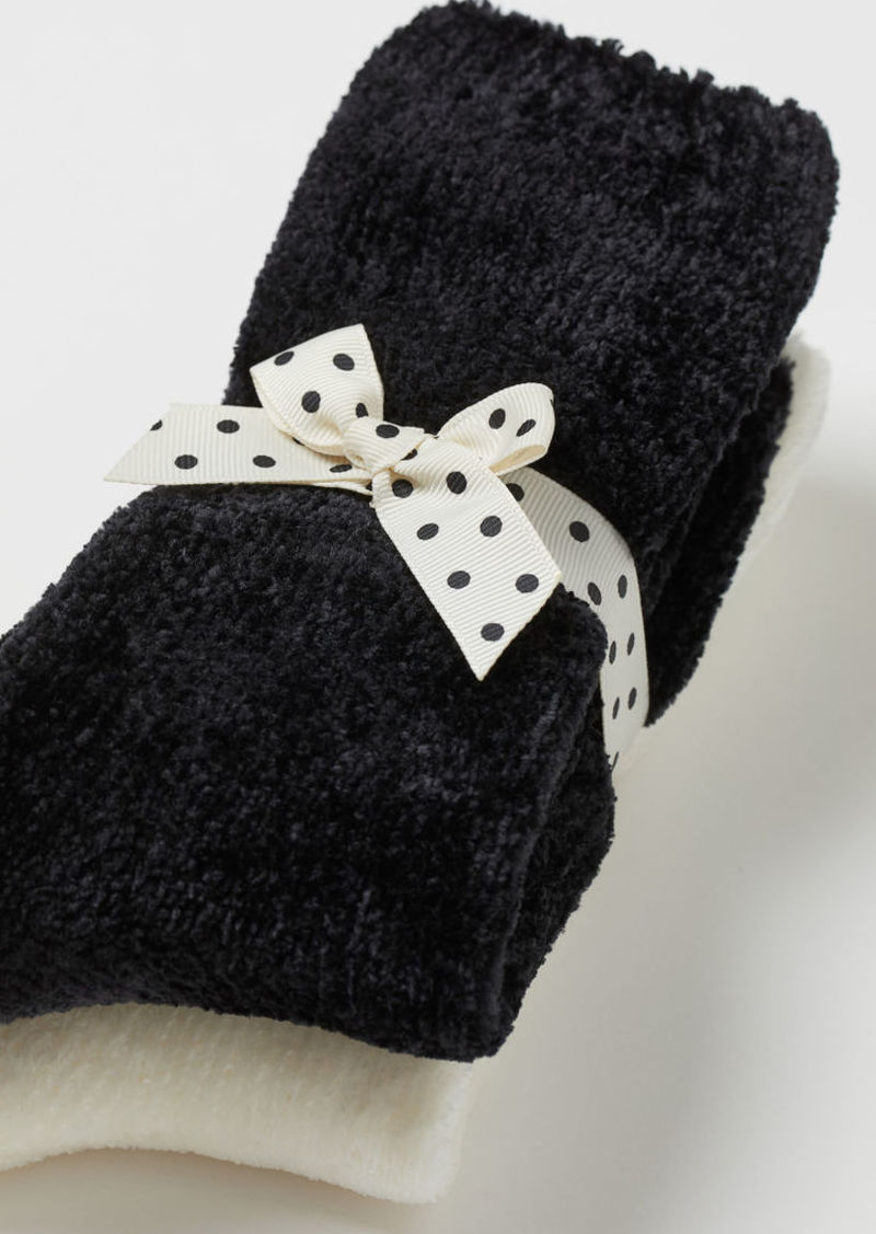 H & M - 2-pack Chenille Socks - Black