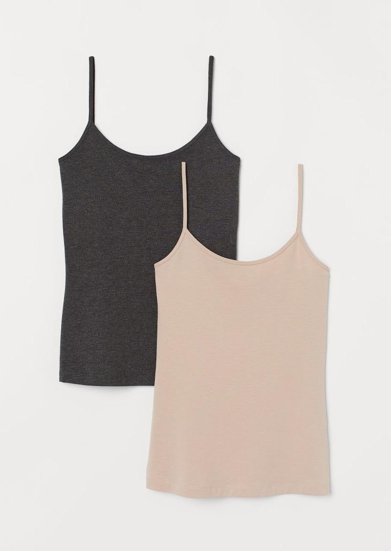 H&M H & M - 2-pack Cotton-blend Tank Tops - Beige