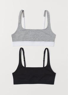 H&M H & M - 2-pack Cotton Soft-cup Bras - Gray