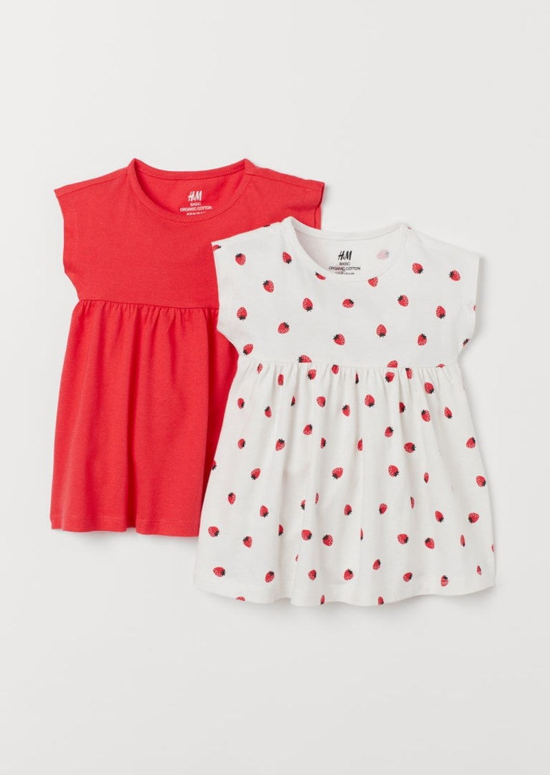 H&M H & M - 2-pack Cotton Dresses - Red