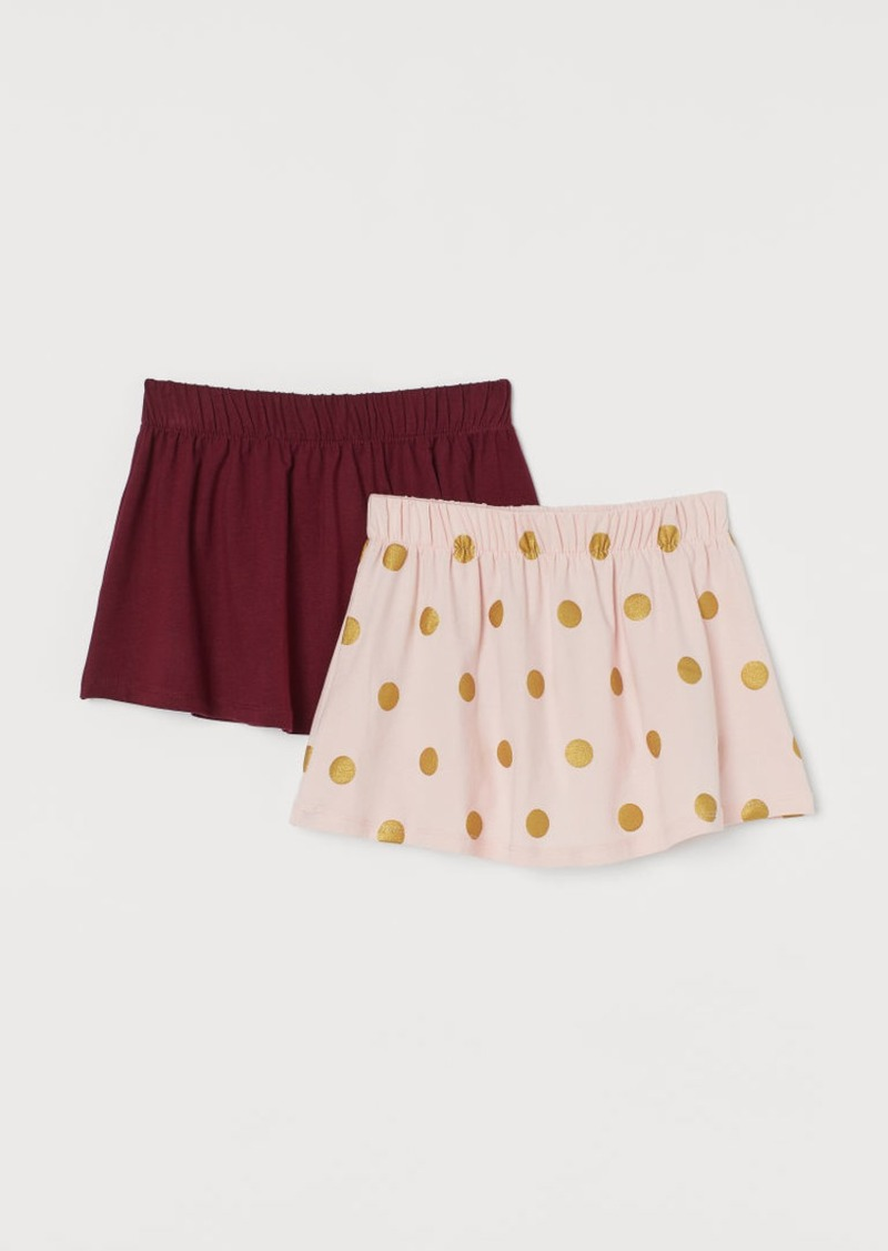 H&M H & M - 2-pack Cotton Jersey Skirts - Pink