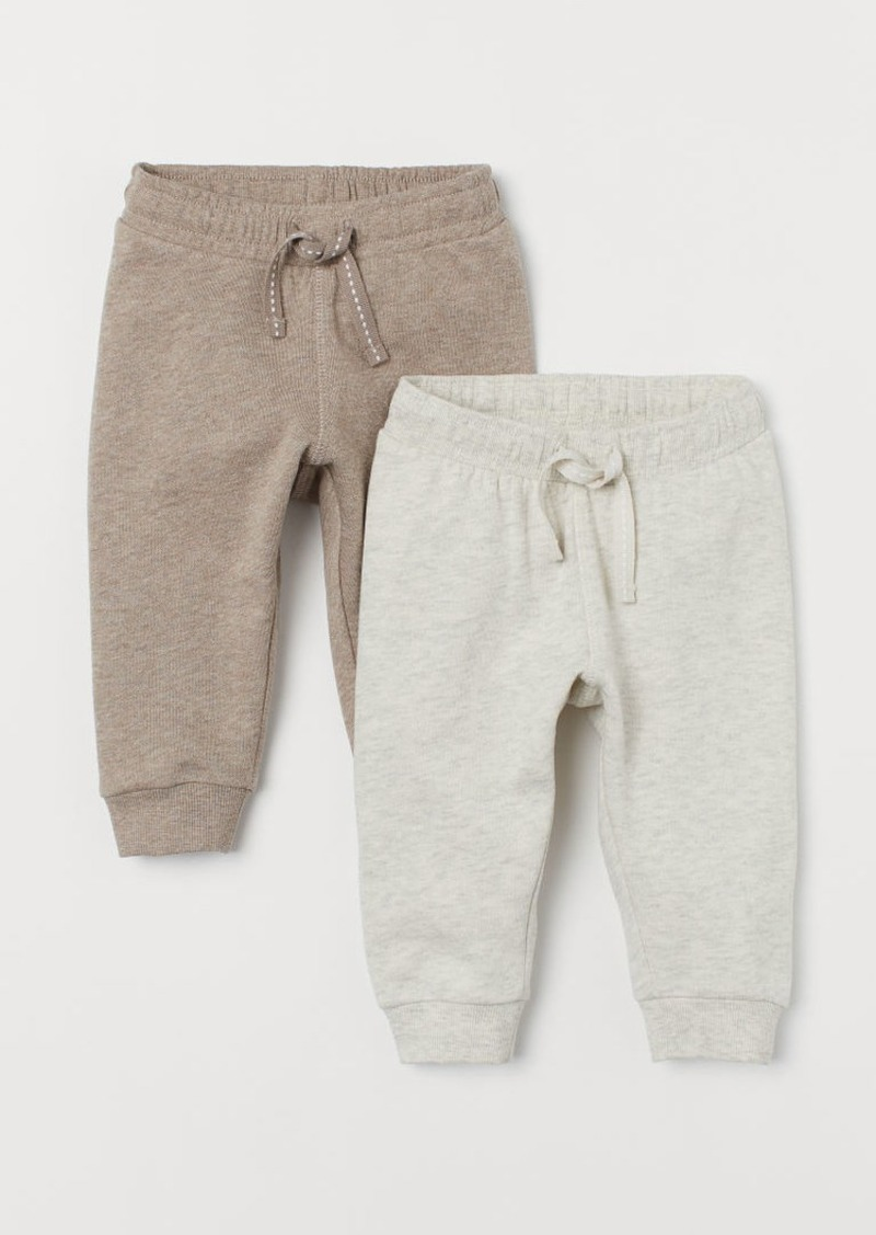 H&M H & M - 2-pack Cotton Joggers - Beige