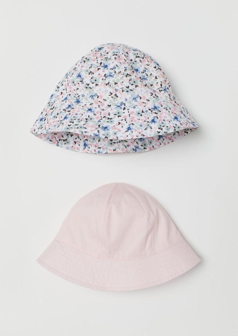 H&M H & M - 2-pack Cotton Sun Hats - Pink