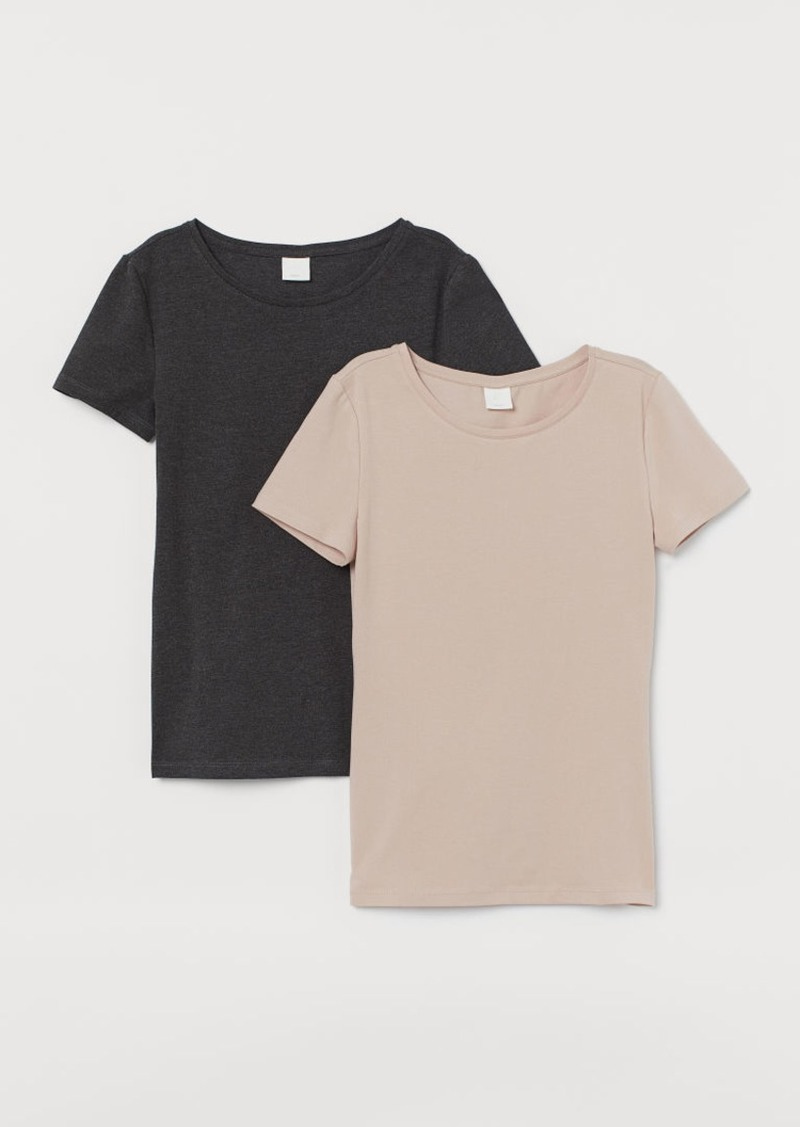 H&M H & M - 2-pack Cotton T-shirts - Beige