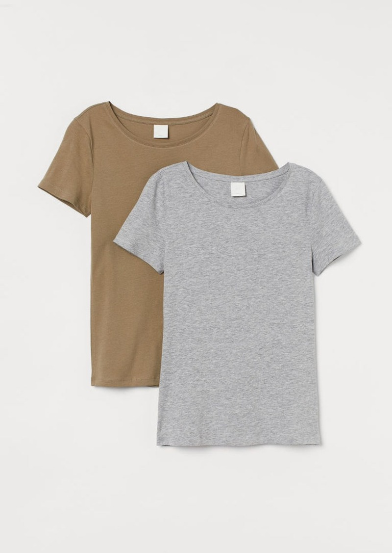 H&M H & M - 2-pack Cotton T-shirts - Green