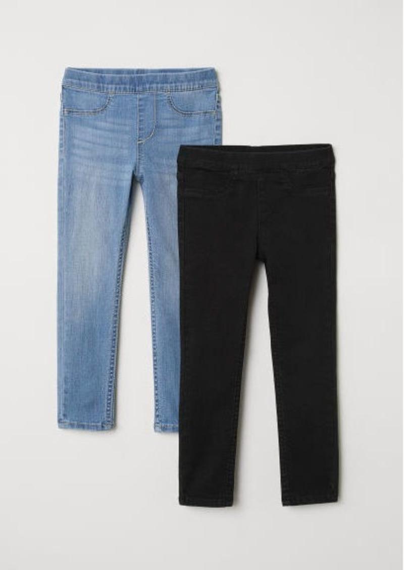 H&M H & M - 2-pack Denim Leggings - Black