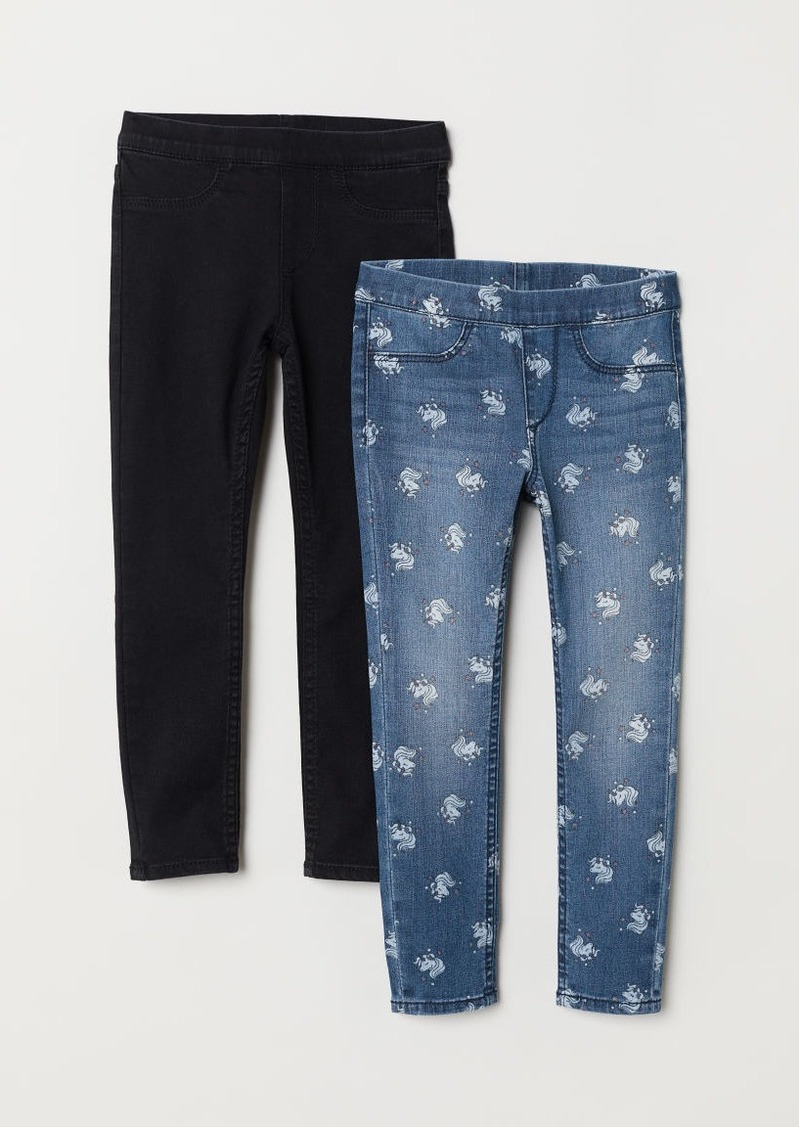 H&M H & M - 2-pack Denim Leggings - Black