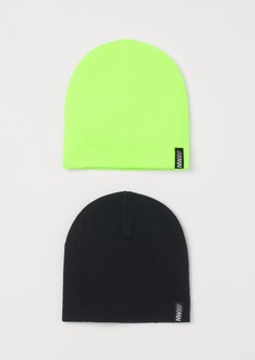 H&M H & M - 2-pack Fine-knit Hats - Green