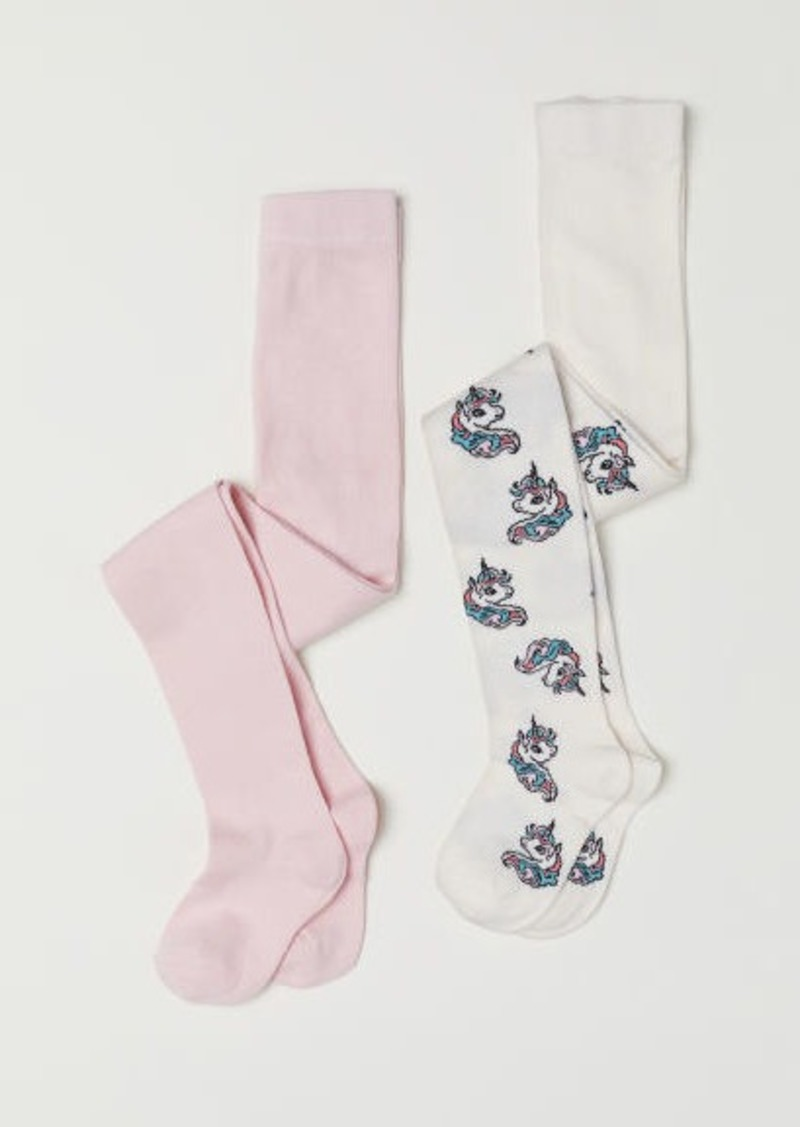 H&M H & M - 2-pack Fine-knit Tights - White