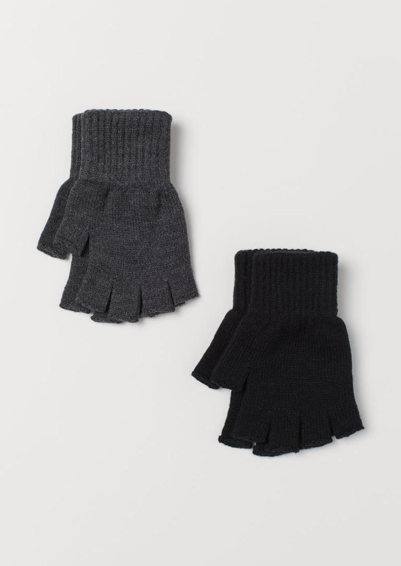 H&M H & M - 2-pack Fingerless Gloves - Black