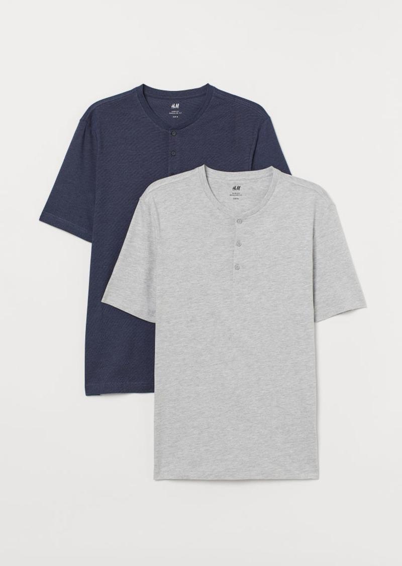 H&M H & M - 2-pack Henley Shirts - Blue