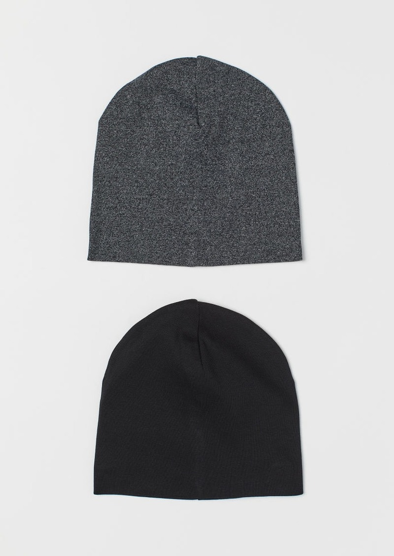 H&M H & M - 2-pack Jersey Hats - Black
