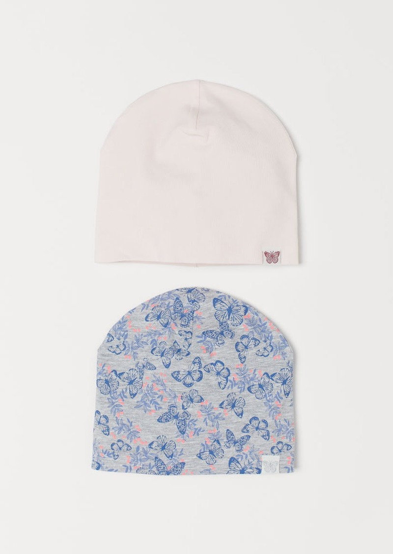 H&M H & M - 2-pack Jersey Hats - Gray
