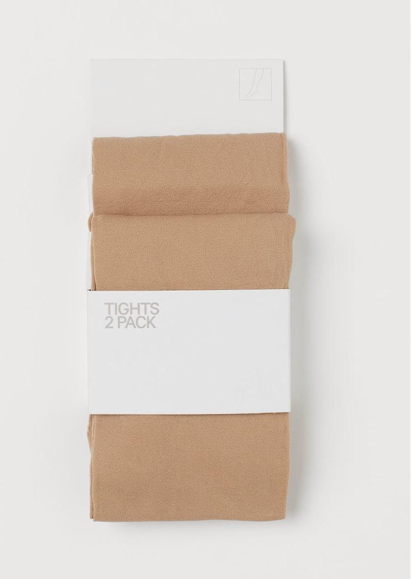 H&M H & M - 2-pack Lightweight Tights - Beige
