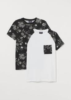 H&M H & M - 2-pack Muscle Fit T-shirts - Black