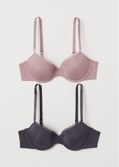 H&M H & M - 2-pack Padded Underwire Bras - Pink