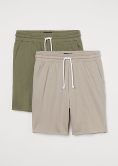 H&M H & M - 2-pack Regular Fit Sweatshorts - Brown