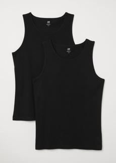 H&M H & M - 2-pack Regular Fit Tank Tops - Black