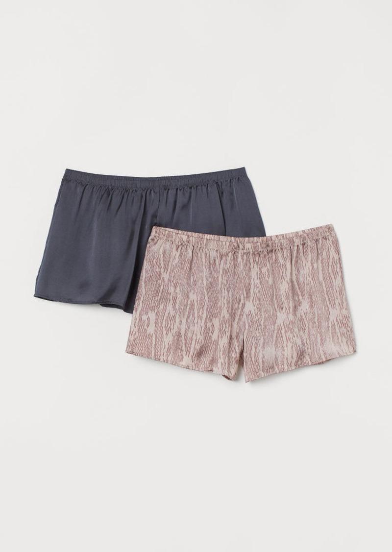 H&M H & M - 2-pack Satin Pajama Shorts - Pink