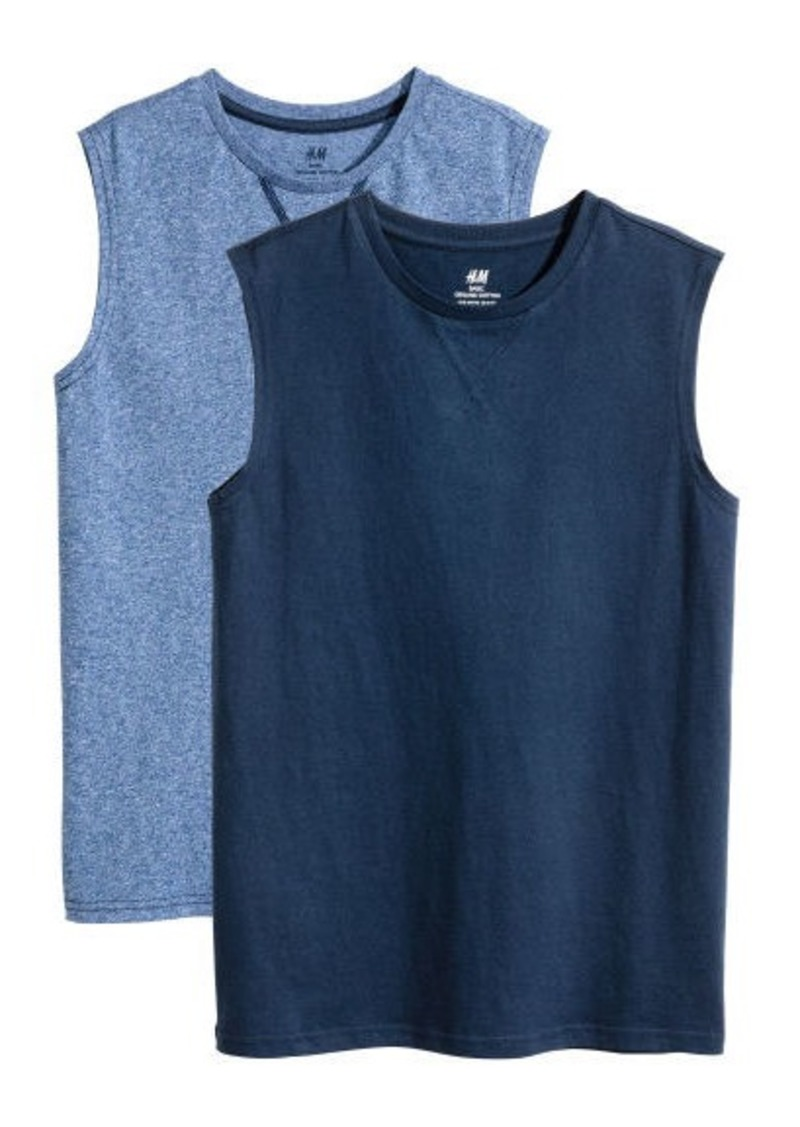 H&M H & M - 2-pack Sleeveless Shirts - Blue