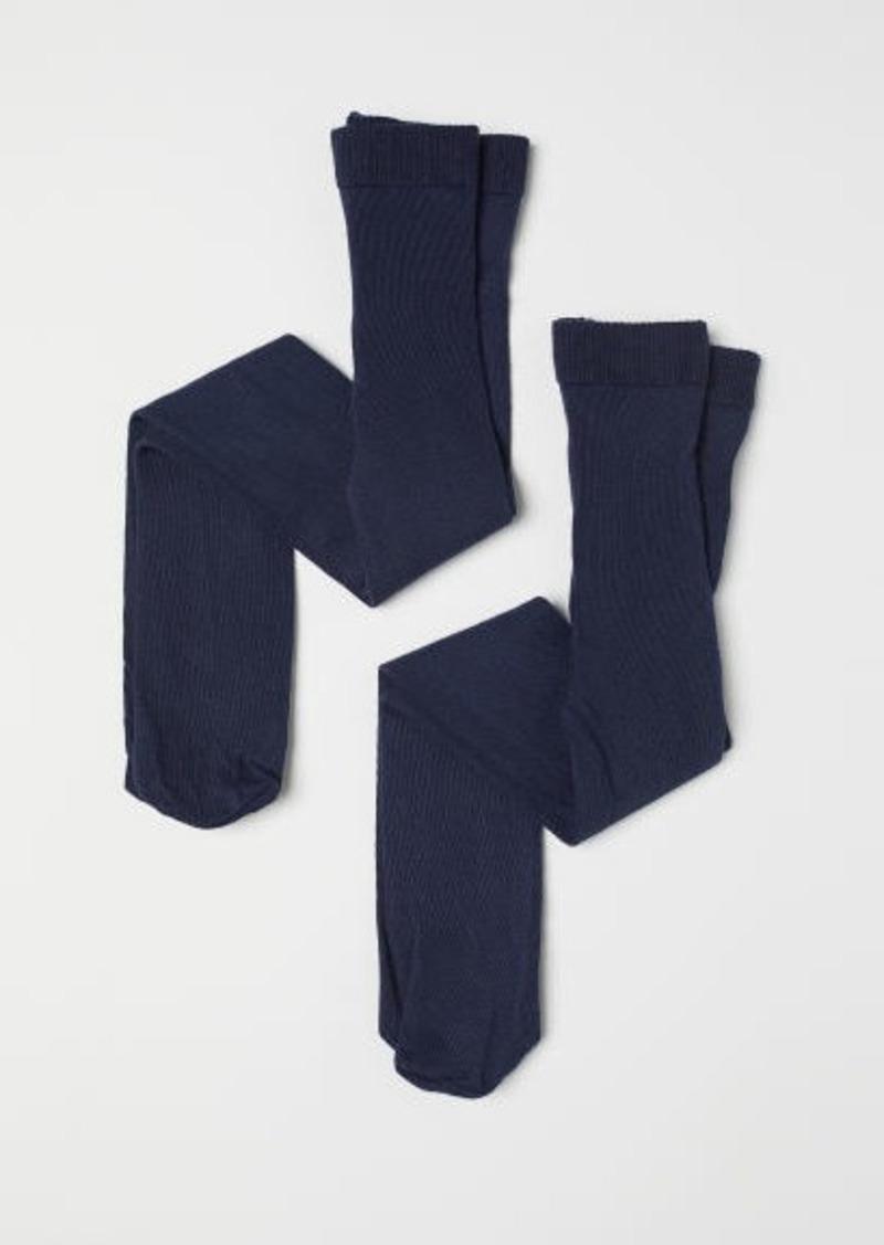 H&M H & M - 2-pack Fine-knit Tights - Blue