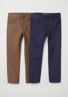 H&M H & M - 2-pack Twill Pants Regular fit - Blue