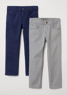 H&M H & M - 2-pack Twill Pants Regular fit - Gray