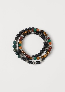 H&M H & M - 3-pack Bracelets with Beads - Green