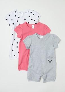 H&M H & M - 3-pack Cotton Jumpsuits - Pink