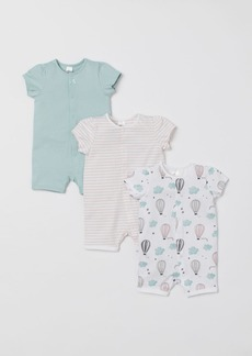 H&M H & M - 3-pack Cotton Jumpsuits - Turquoise