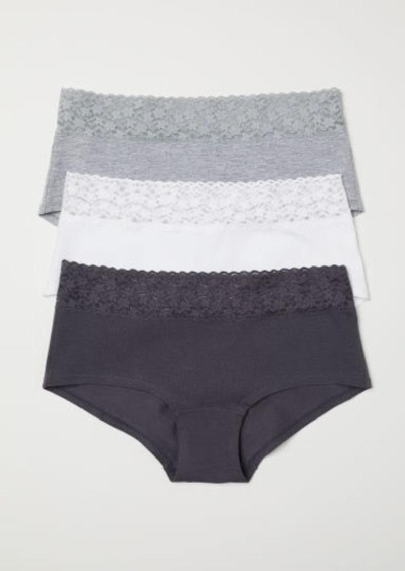 H&M H & M - 3-pack Cotton Shortie Briefs - Gray